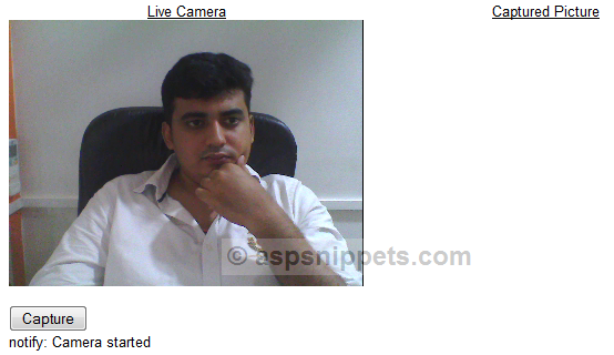Capture Image (Photo) from Web Camera (Webcam) in ASP.Net MVC