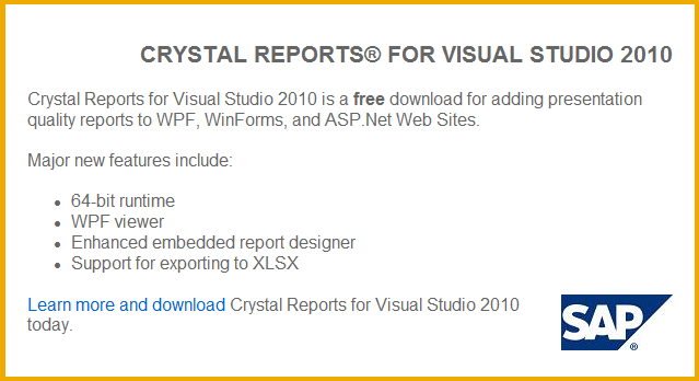 Crystal report installation in visual studio 2010 stack overflow.