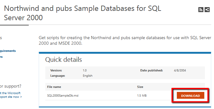 Microsoft access sample database