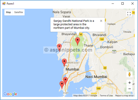 how to display google map in c windows application