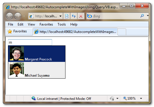 Configuring jQuery AutoComplete Plugin to display Images in ASP Net