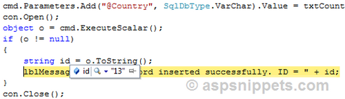 executescalar returns null on insert