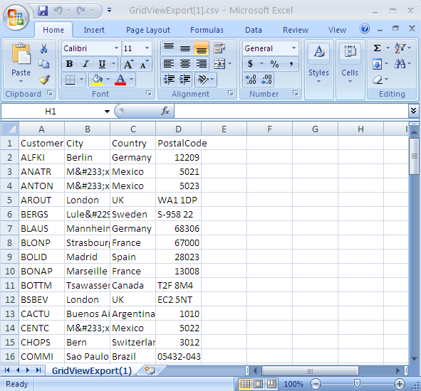 GridView data exported to CSV File
