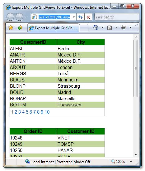 Multiple GridViews displayed on ASP.Net Webpage