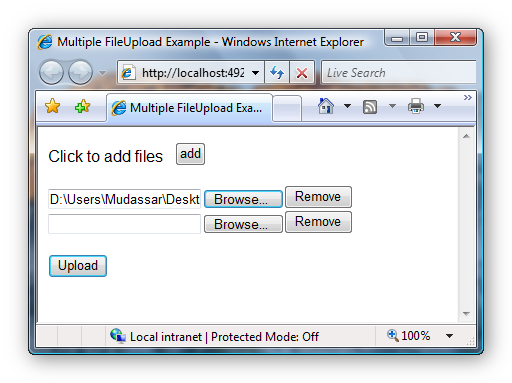 Multiple FileUploads using JavaScript