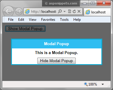 Show/Hide ( Open/Close ) AJAX Modal Popup using JavaScript in ASP Net