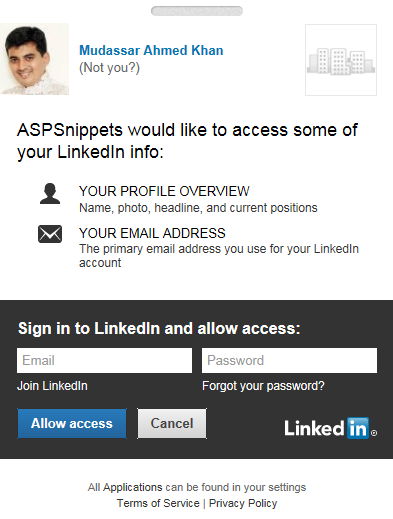 LinkedIn Authentication MVC: Login with LinkedIn account in ASP.Net MVC