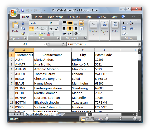 Exported Excel Document