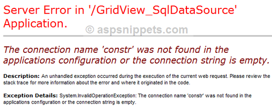 The connection name 'constr' was not found in the applications configuration or the connection string is empty