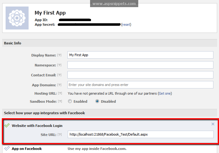 Create FaceBook App and Facebook Application Id ( AppId ) and Secret Key
