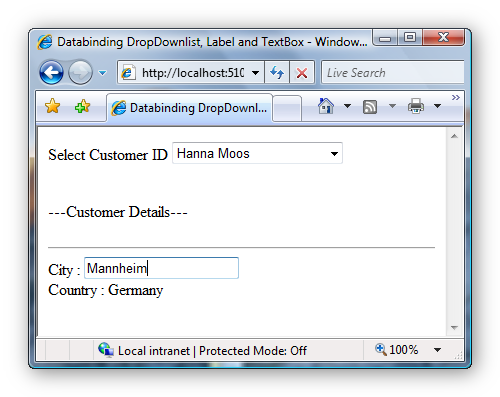Example displaying a databound Label, TextBox and DropDownList