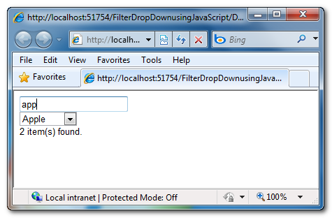 Search and Filter ASP.Net DropDownList's items using JavaScript without using any PostBack or AJAX request or jQuery