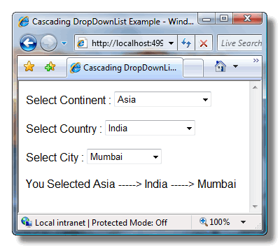 ScreenShot Displaying the working of Cascading DropDownLists