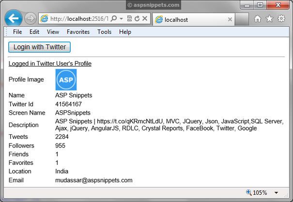 Twitter Integration in ASP.Net website using C# and VB.Net