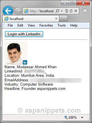 Login with LinkedIn Account and fetch User Profile details like ID, Name, Picture and Email in ASP.Net
