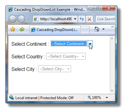 ScreenShot displaying 3 dropdownlists dependent on each other