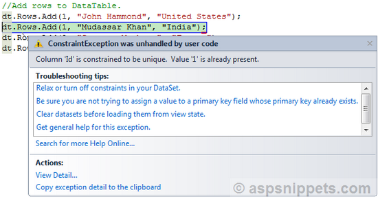 Add Insert Primary Key Column To Datatable In C And Vb Net