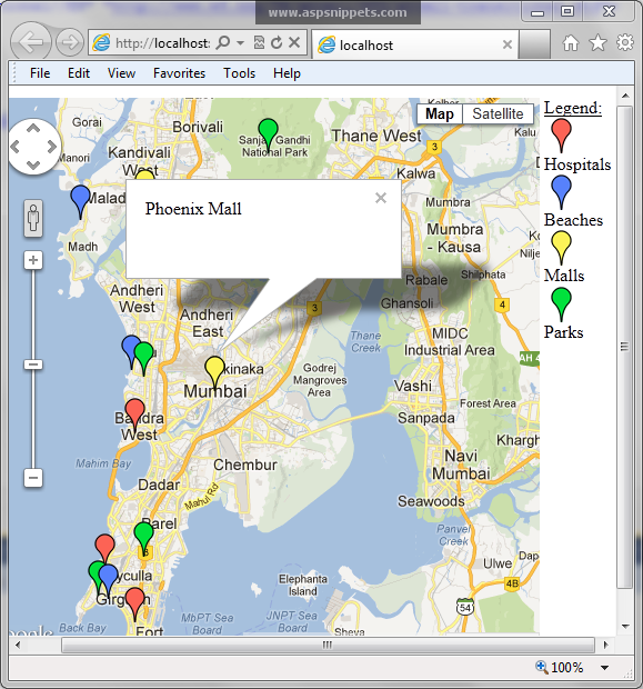 how to show multiple locations on google maps using javascript