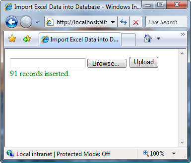 User Interface : Status notified to the user after completion of Excel Sheet import