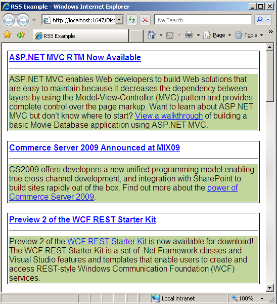 RSS Feeds displayed on the page