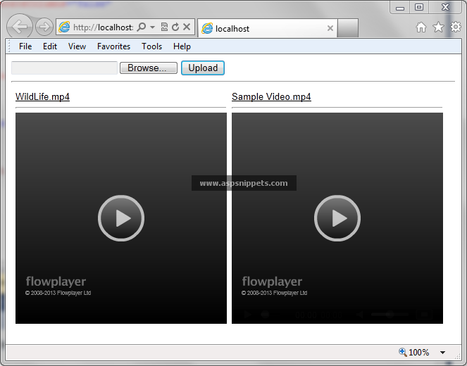 Upload Save Retrieve and Play MP4 Video files with live streaming from Database in ASP.Net MVC