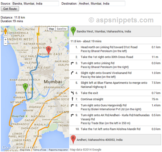 Google Maps V API Calculate Distance Between Two Addresses - Route map and distance calculator