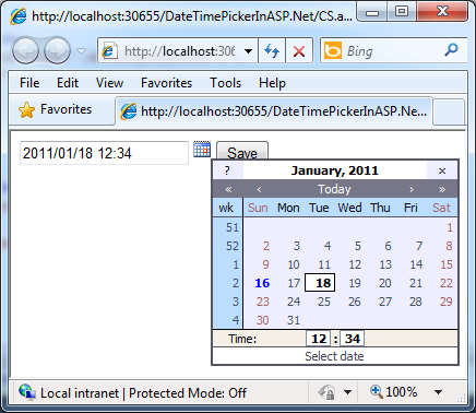 DateTimePicker control for ASP Net TextBox Example