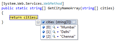 Send and receive JavaScript Array to Web Service Web Method