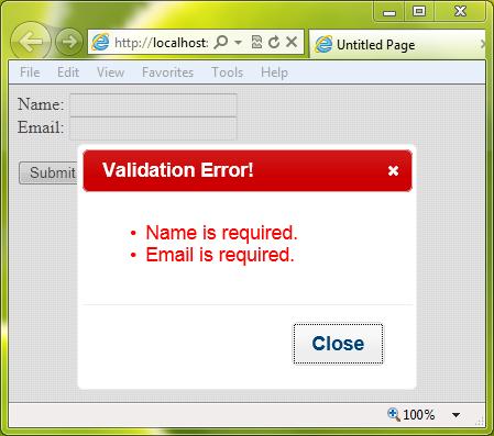 Display ASP.Net ValidationSummary in jQuery Modal Dialog Popup Box