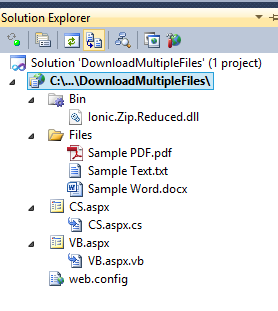 Download multiple files as Zip Archive File in ASP Net using C# and